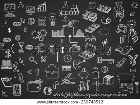 Set of hand drown icons, on chalkboard, for creating business concepts and illustrating ideas, EPS 10 contains transparency. - stock vector