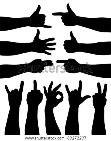 Set of 11  hand gestures on white. Vector illustration - stock vector