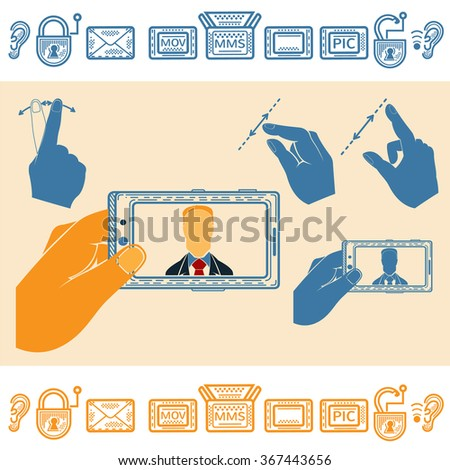 Set of Hand Holding Horizontally Mobile Phone With Man on Screen. Flat and Line Style Icons - stock vector