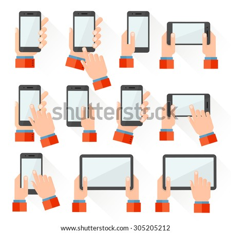 Set of hand holding smart phone and tablet touch computer gadget. Flat style icons. Vector illustration - stock vector