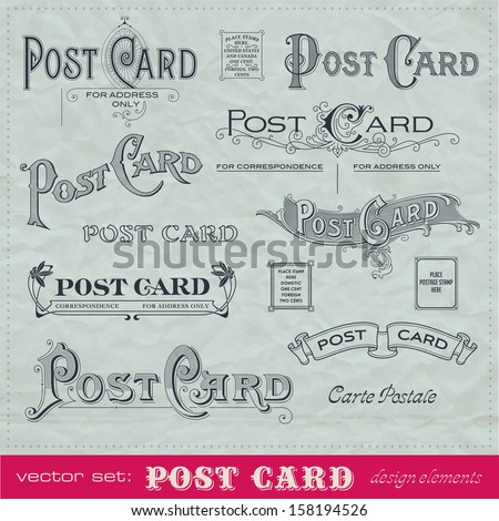 set of hand-lettered calligraphic elements for postcard backs - stock vector