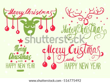 set of hand lettering christmas phrase design collection, handmade calligraphy vector illustration, decorative deer