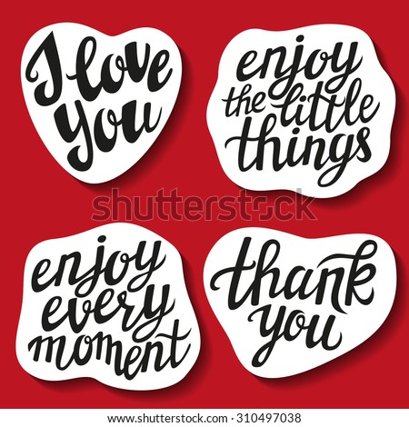 Love You Thank You Quotes Impressive Set Hand Lettering Stickers Popular Quotes Stock Vector 310497038