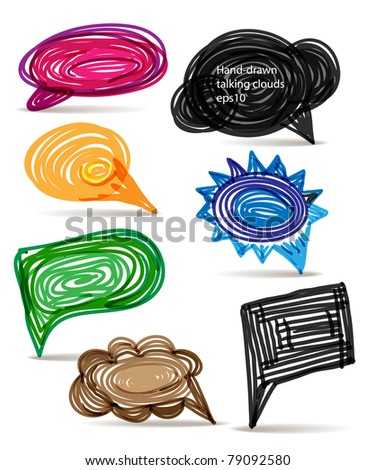 Set of hand-made comic style colorful speech clouds - stock vector