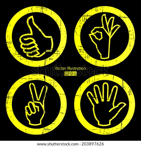 Set of hand on black background. - stock vector
