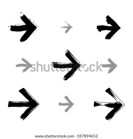 Set of hand-painted arrows isolated on white background, simple stroke arrow signs created with real hand-drawn ink brush scanned and vectorized, monochrome direction icons. - stock vector