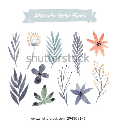 Set of hand painted watercolor vector flowers and leaves. Design element for summer wedding, spring congratulation card. Perfect floral elements for save the date card.Unique artwork for your design. - stock vector