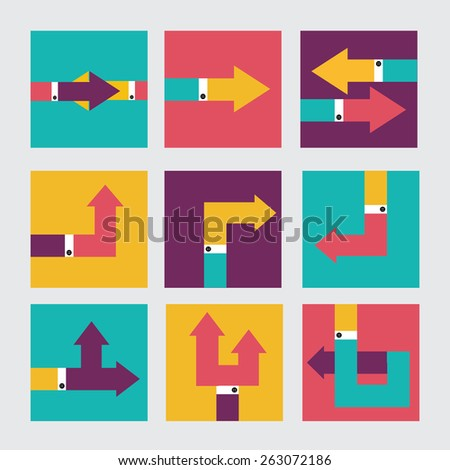set of hand- pointer arrow. vector background eps- 10 - stock vector