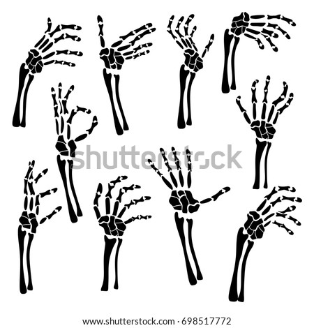 set hand skeleton shows fingers halloween stock vector 698517772 rh shutterstock com Skeleton Hand Pointing Finger Skeleton Hand Pointing Finger