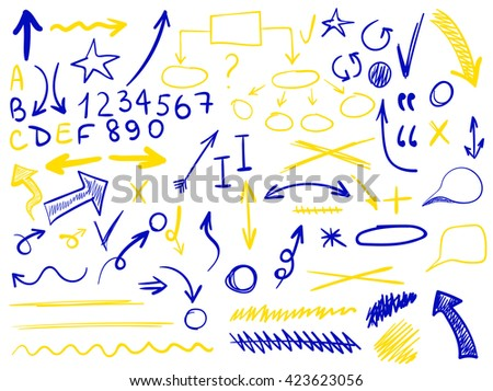 set of hand-sketched icons. Elements for planning or text correction. Hand-drawn arrows. Blue and yellow elements.  - stock vector