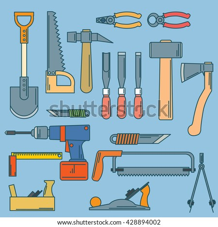 set of hand tools for productive work.Hand tools.  - stock vector
