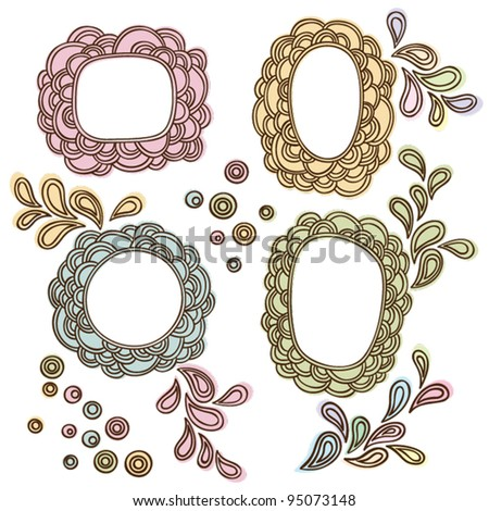 Set of hand written frames with doodling elements - stock vector