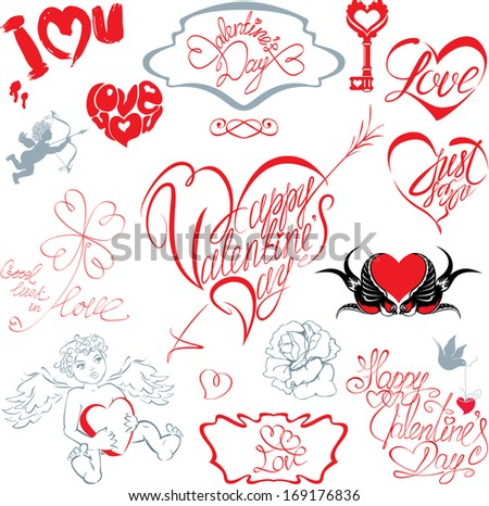 Set of hand written text: Happy Valentine`s Day, I love you, Just for you, etc. in heart shape. Calligraphic elements for holidays or wedding design in vintage style.  - stock vector