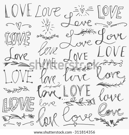 Set of hand-written words. Love lettering. Vector text for your design isolated on white background. Used for greeting cards, posters and print invitations. - stock vector