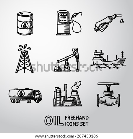 Set of handdrawn oil icons - barrel, gas station, rigs, tanker, oil truck, plant, valve. Vector - stock vector