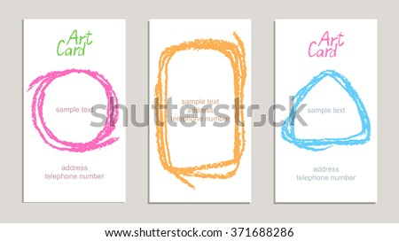 Set of handmade business cards with hand drawing textures. Hand drawing copy space on white paper background. Crayon pastel chalk art lines and design elements, vector. - stock vector