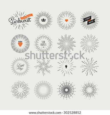 Set of handmade sunburst design elements. Vintage style elements and icons for graphic and website design.     - stock vector
