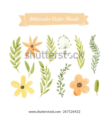 Set of handpainted watercolor vector flowers and leaves. Design element for summer wedding, spring congratulation card. Perfect floral elements for save the date card. Artwork for your design.   - stock vector