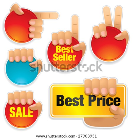 Set of hands holding brightly colored buttons. - stock vector