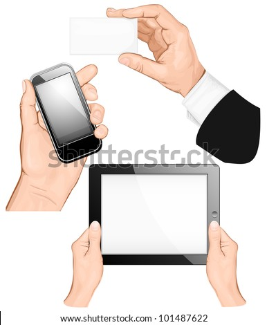 Set of hands holding business card, pc tablet,  mobilephone. vector illustration