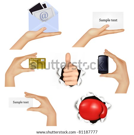 Set of hands holding different business objects and red boxing glove. Vector illustration. - stock vector