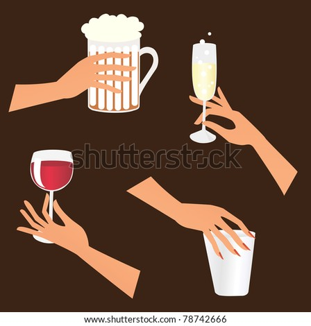 Set of hands holding different drinks - stock vector