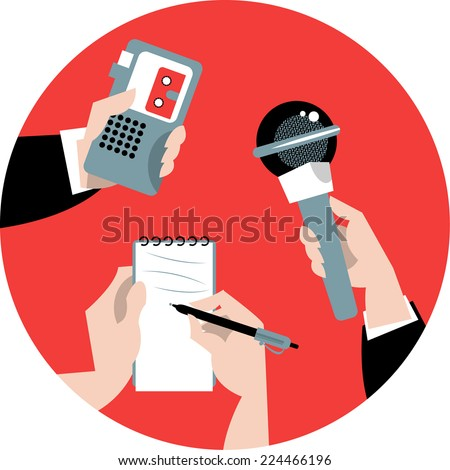 Set of hands holding microphone, voice recorder and spiral notebook. Journalism concept. Vector illustration - stock vector