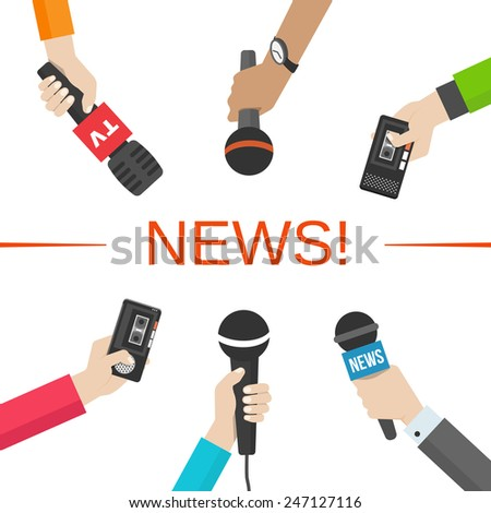 Set of hands holding microphones and voice recorders. News and journalism concept. Vector illusatration - stock vector
