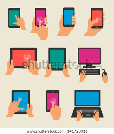 Set of hands holding tablet and  smart phone - stock vector