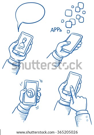 Set of hands with mobile phone. Hand drawn vector cartoon doodle illustration - stock vector