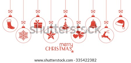 Set of hanging Christmas balls with ornaments such as Christmas tree, Santa hat, reindeer, angel, stocking, present, Christmas star and bell with a ribbon forming a versatile border isolated on white. - stock vector