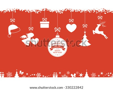 Set of hanging Christmas ornaments like bauble, santa hat, reindeer, angel, heart, present and tree on red background. The bottom and top borders of snow and Christmas symbols will tile seamlessly. - stock vector