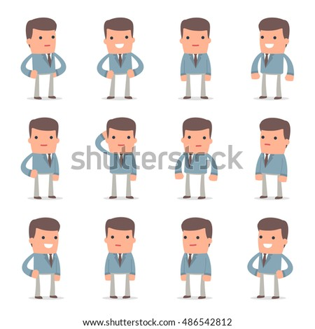 Set of Happy and Cheerful Character Graduate Student standing in relaxed poses for using in presentations, etc.
