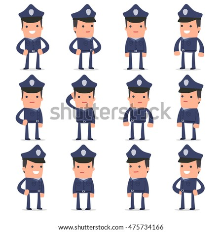 Set of Happy and Cheerful Character Officer standing in relaxed poses for using in presentations, etc.
