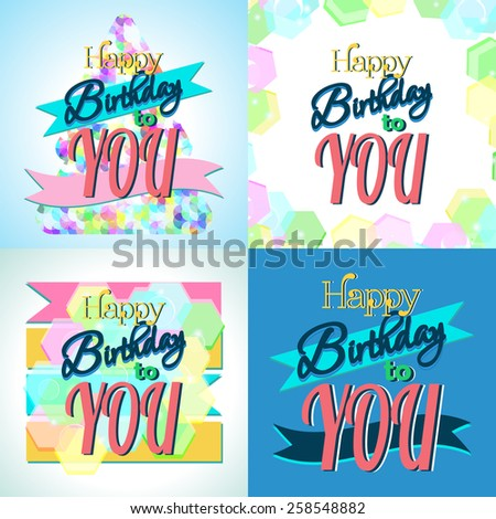 Set of Happy Birthday Greeting Cards.Vector Illustrations - stock vector