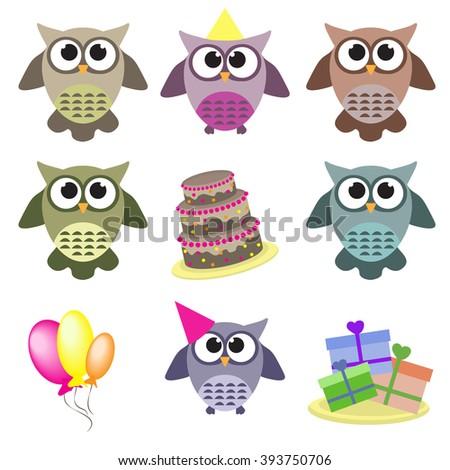 Set of Happy birthday owls - stock vector