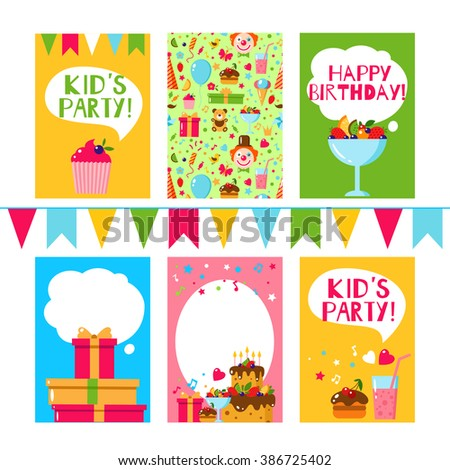 Happy birthday invitation flat vector template stock vector set of happy birthday template card flat vector kids invitation for party stopboris Gallery
