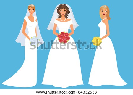 Set of happy brides - stock vector