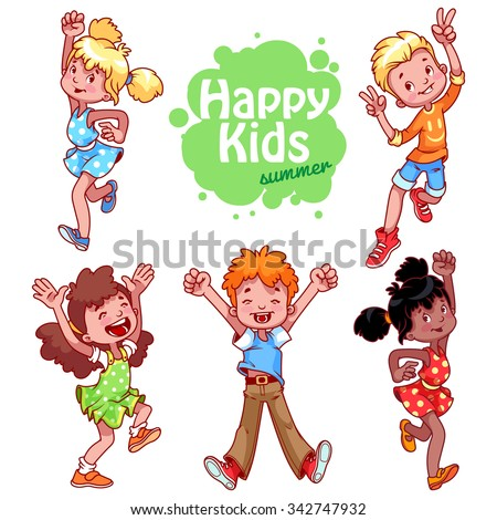 Set of happy children. Very happy cute kids in different summer clothing raised hands up and jumping. Happy childhood. Children's joy. Vector funny cartoon characters on a white background. - stock vector