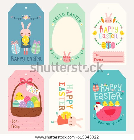 Set happy easter gift tags cards stock vector 615343022 shutterstock set of happy easter gift tags and cards cute bunny chicken and hen with negle Gallery