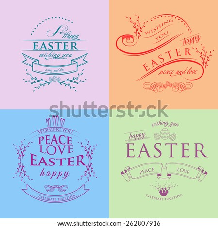 Set of Happy Easter Typographical Background - stock vector