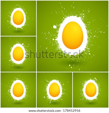 Set of 6 Happy Easter vector background. Happy Easter greeting card. Vector illustration. Abstract vector art. Egg background. Retro background - stock vector