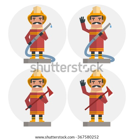 Set of Happy fireman. Vector illustration of flat style - stock vector