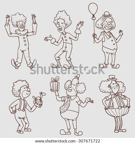 Set of happy funny clowns, line art,vector - stock vector