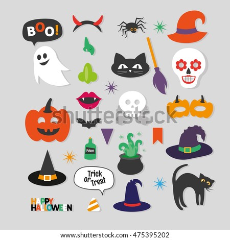 Set of Happy Halloween Photo Booth Props