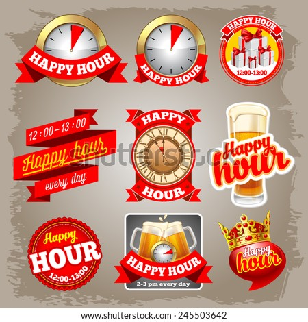Set of happy hour labels for restaurant, bar, cafe and shops. - stock vector