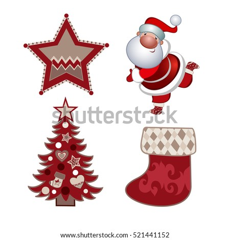 Set of Happy New Year and Merry Christmas Colorful Items.