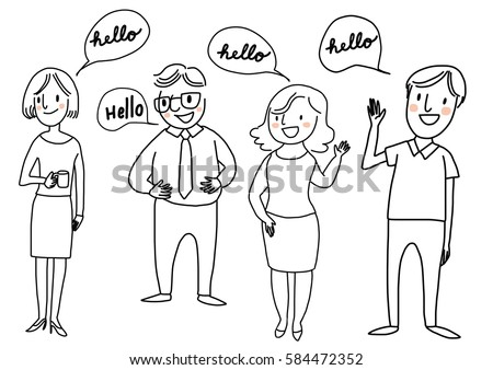 Set happy people standing greeting someone stock vector 2018 set of happy people standing and greeting someone with word bubble hello included m4hsunfo