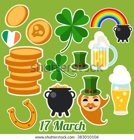 Set Of Happy St. Patrick's Day Flat Icons. Vector illustration. Patrick's Day Symbols. Mug of irish beer, coins, rainbow, leprechaun hat, pot with coins, four leaves clover. - stock vector