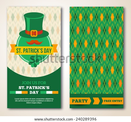 Set Of Happy St. Patrick's Day Greeting Card or Flyer. Vector illustration. Party Invitation Design with Argyle Pattern and Ribbon. Typographic Template for Text. - stock vector